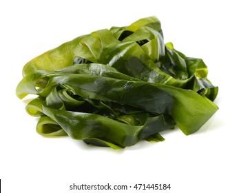 soaked wakame seaweed, japanese food on white background