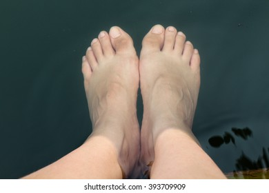 Soaking my feet in the lagoon