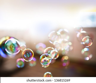 Soap bubbles, abstract background