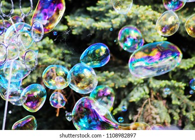 Soap bubbles, abstract background funny