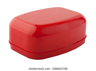 soap dish red plastic isolate