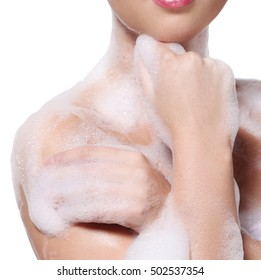 Soap foam, wash. Woman on a white background