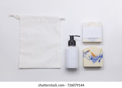 soap and lotion in decorate with white background.