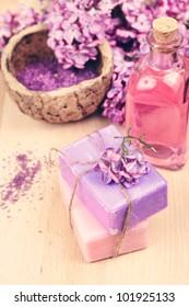 Soap, pink essential oil, lilac, bath salt