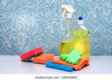 Soap for rags, next to detergents for cleaning in the house and keeping clean.
