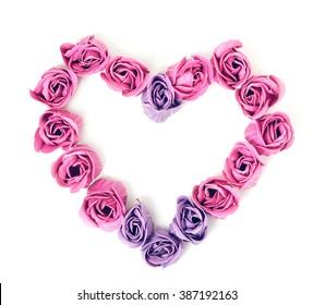 SOAP roses in form of heart. Rose Quartz color