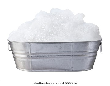 Soap Suds and Bubbles in a Tub isolated on white