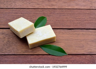 Soaps on a wooden table