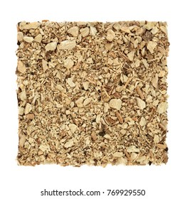 Soapwort root herb used in alternative herbal medicine to heal colds, psoriasis, gout and eczema and has anti inflammatory properties on white background. Saponaria officinalis.