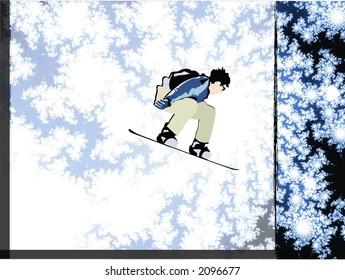 Soaring Snowboarder - High Resolution Illustration.