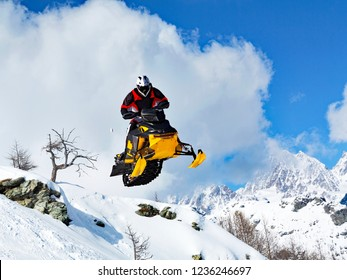 soaring with snowmobile
