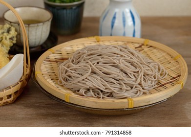 Soba is the Japanese name for buckwheat. It usually refers to thin noodles made from buckwheat flour, or a combination of buckwheat and wheat flours. The cold ones are often served in a bamboo basket.