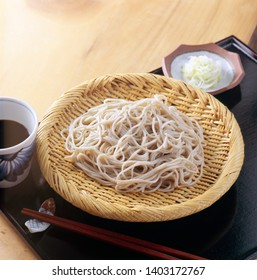 Soba noodles with dried seaweed on bamboo plate, Japanese food