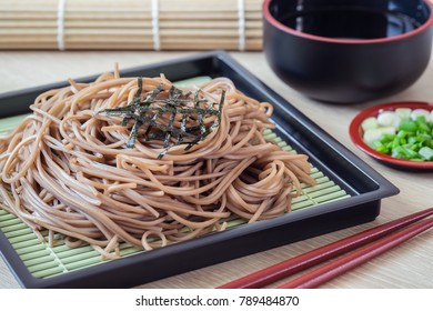 Soba noodles on plate, Japanese food