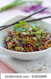 Soba noodles with sesame seeds and mixed vegetables