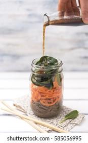 Soba, sesame and carrot salad