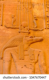 Sobek god, Temple of Kom Ombo, sundown, Egypt.