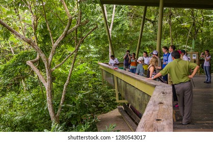 SOBERANIA NATIONAL PARK, PANAMA - AUGUST 13, 2009: Tourists at Rainforest Discovery Center at Pipeline Road.