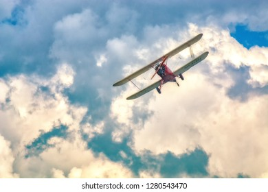 SOBIENIE SZLACHECKIE, POLAND - JUNE 16: Historic planes during Sky Show on June 2018 in Sobienie Szlacheckie, Poland.
