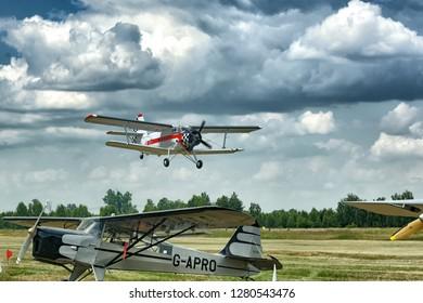 SOBIENIE SZLACHECKIE, POLAND - JUNE 16: Antonov An-2 during Sky Show on June 2018 in Sobienie Szlacheckie, Poland.