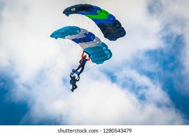 SOBIENIE SZLACHECKIE, POLAND - JUNE 16: Paragliders during Sky Show on June 2018 in Sobienie Szlacheckie, Poland.