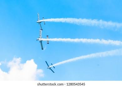 SOBIENIE SZLACHECKIE, POLAND - JUNE 16: Socata planes during Sky Show on June 2018 in Sobienie Szlacheckie, Poland.