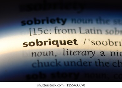 sobriquet word in a dictionary. sobriquet concept.