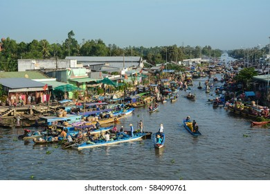 Soc Trang, Vietnam - Feb 2, 2016. View of the Nga Nam floating market in Soc Trang, southern Vietnam. The floating markets belong to the highlights of the Mekong delta, Vietnam.