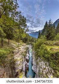 Soca river Gorge near Bovec in Triglav National Park, Julian Alps, Slovenia Europe