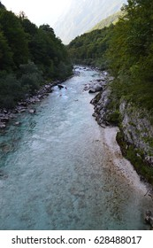 SOCA RIVER, SLOVENIA - AUGUST 4, 2013: A view at the Soca River, Slovenia on August 4, 2013.