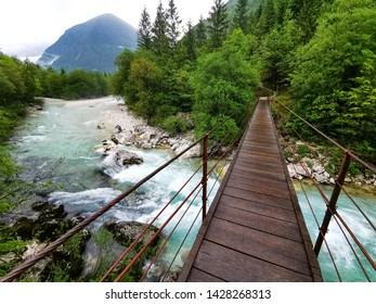 soca river in slovenia with bridge
