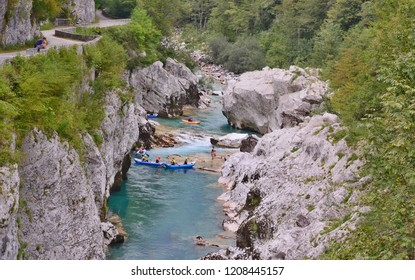 Soca River, this Slovenian River is considered the most beautiful in the country, a view from Napoleon's Bridge, Slovenia. 8.8.2018.