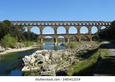 The so-called Pont-du-Gard, a Roman aqueduct of the first century CE in modern-day southern France, viewed from the north. April 2019