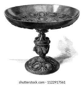 """The so-called """"William the Conqueror"""" cup, preserved in the library of the city of Caen, vintage engraved illustration. Magasin Pittoresque 1858."""