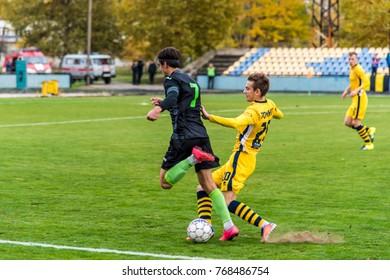 """soccer 2nd League Ukraine """"Energy"""" -""""Metalist"""" 05 Nov, 2017 , players in European football in the game,Ukraine, Kherson region , New Kakhovka ,the stadium """"Energy"""""""