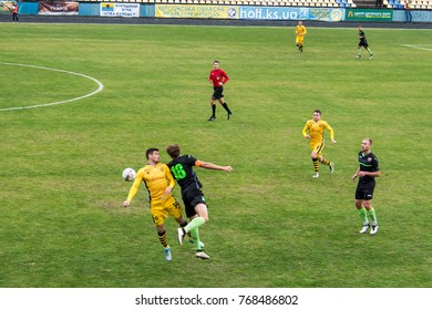 "soccer 2nd League Ukraine ""Energy"" -""Metalist"" 05 Nov, 2017 , players in European football in the game,Ukraine, Kherson region , New Kakhovka ,the stadium ""Energy"""