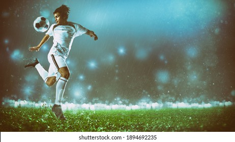 Soccer action scene with a footballer in white uniform performing a heel ball stop