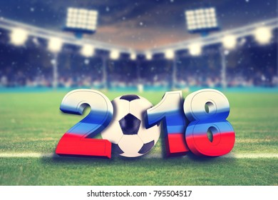 soccer background 2018 with soccer ball and soccer stadium background