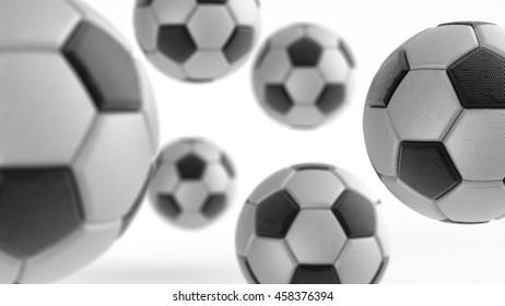 Soccer ball. 3D illustration. 3D CG. Format 16:9. High resolution.