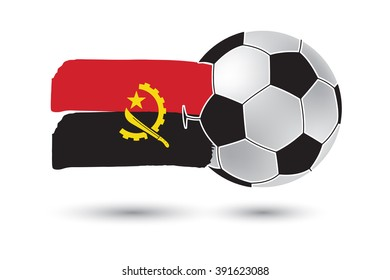 Soccer ball and Angola Flag with colored hand drawn lines