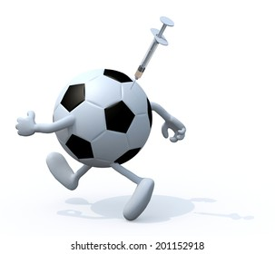 soccer ball with arms and legs running with a syringe skewered on it, doping concepts 3d illustration