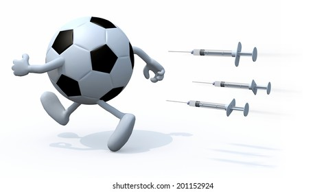 soccer ball with arms and legs running with three syringes, doping concepts 3d illustration