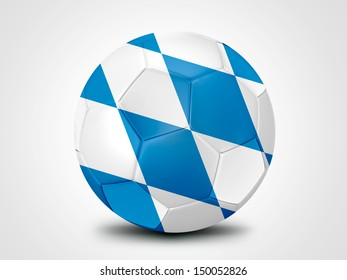 Soccer ball with the Bavaria, Germany Flag