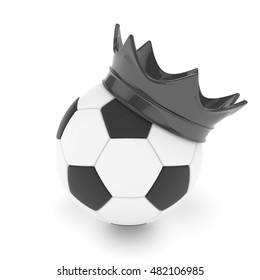Soccer  ball with black royal crown is a symbol of competition and winner's trophy on white. 3D rendering.