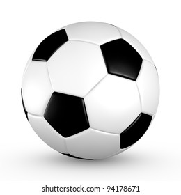 Soccer ball with black and white truncated icosahedron pattern