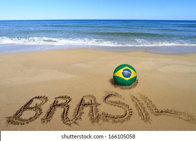 Soccer ball with Brazilian flag and word