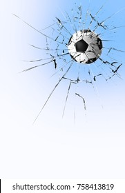 Soccer ball breaking glass or football smashes the transparent glass
