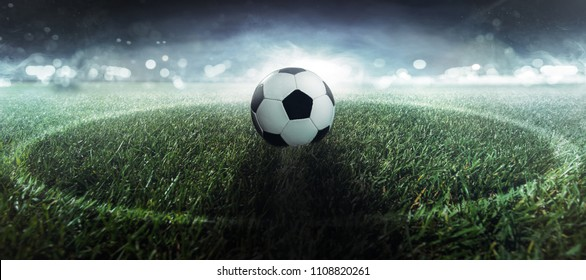 Soccer ball is at the center