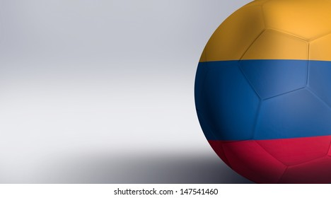 Soccer ball with Colombia flag isolated on white