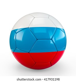 Soccer ball covered with Russia Russian flag texture isolated on white background. 3D Rendering, 3D Illustration.